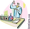 Scientist with test tube performing tests Vector Clip Art picture