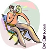 Movie director giving directions with megaphone Vector Clipart image