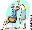 Hairdresser giving customer a haircut Vector Clipart picture