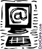 Vector Clip Art graphic  of a Computer with e-mail symbol