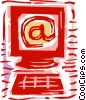 Computer with e-mail symbol Vector Clipart image
