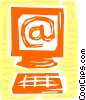 Vector Clipart picture  of a Computer with e-mail symbol