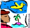 Vector Clipart image  of a Man with Island and airplane