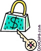 Money lock and house key Vector Clipart picture