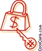 Vector Clip Art image  of a Money lock and house key