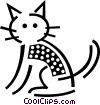 Domestic cat Vector Clip Art image