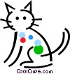 Domestic cat Vector Clipart illustration