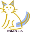Domestic cat Vector Clip Art graphic