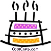 Triple layer birthday cake with candles Vector Clip Art graphic