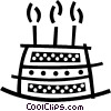 Triple layer birthday cake with candles Vector Clipart picture