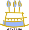 Triple layer birthday cake with candles Vector Clipart illustration