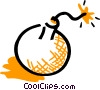 Bomb with lit fuse Vector Clipart graphic