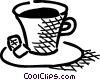 Vector Clip Art graphic  of a Cup of tea with two cubes of
