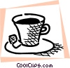 Vector Clip Art image  of a Cup of tea with two cubes of