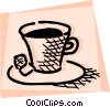Cup of tea with two cubes of sugar Vector Clip Art picture