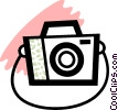 Camera with strap Vector Clipart image