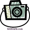 Camera with strap Vector Clipart illustration