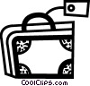 Vector Clip Art graphic  of a Suitcase with tag
