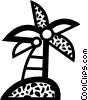 Vector Clipart image  of a Palm tree with coconuts