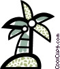 Vector Clipart graphic  of a Palm tree with coconuts