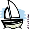 Sailboat in the ocean Vector Clipart illustration