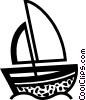 Vector Clip Art graphic  of a Sailboat in the ocean