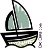 Vector Clipart graphic  of a Sailboat in the ocean