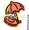 Vector Clip Art picture  of a Umbrella and sun hat