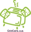 Toaster with bread Vector Clipart picture