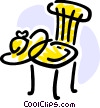 Kitchen chair with summer hat Vector Clip Art image