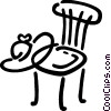 Vector Clip Art picture  of a Kitchen chair with summer hat