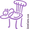 Kitchen chair with summer hat Vector Clip Art graphic