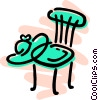 Vector Clipart image  of a Kitchen chair with summer hat