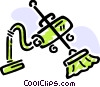 Vacuum Cleaner with broom Vector Clipart illustration