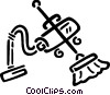 Vector Clip Art image  of a Vacuum Cleaner with broom