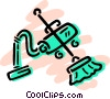 Vector Clip Art graphic  of a Vacuum Cleaner with broom