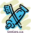 Vector Clipart graphic  of a Toothpaste and toothbrush