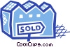 Vector Clipart illustration  of a Sold property