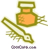 Vector Clipart image  of a Ink well and fountain pen