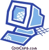 Computer workstation Vector Clip Art picture
