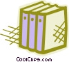 Vector Clip Art graphic  of a Three textbooks