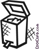 Open garbage can Vector Clipart graphic