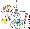 Woman in Paris at the Eiffel tower with suitcase Vector Clipart graphic