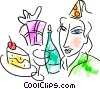 Vector Clipart picture  of a Woman with birthday party
