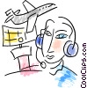 Air Traffic Controller directing airplane Vector Clipart illustration