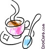 Teacup with sugar cube Vector Clip Art picture