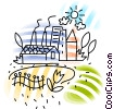 Farm with barns and silos Vector Clip Art graphic