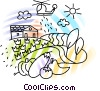Vector Clipart graphic  of a Farm with helicopter spreading