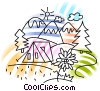 Vector Clip Art graphic  of a Tent by lake with mountains