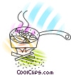 Vector Clip Art image  of a Cooking fish dinner over camp